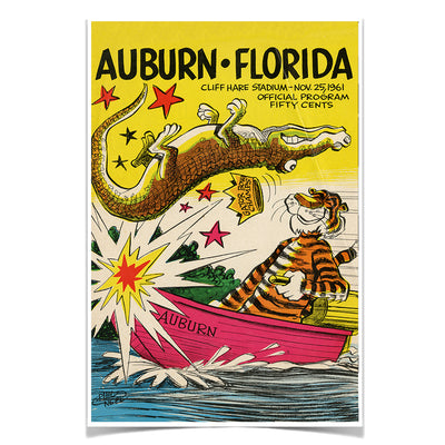 Auburn Tigers - Auburn vs Florida Official Program Cover 11.25.61 - College Wall Art #Poster