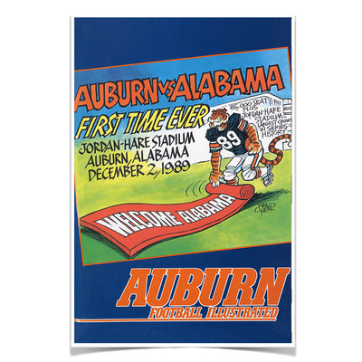 Auburn Tigers - Vintage Auburn vs Alabama-First Time Ever Jordan Hare 12.2.89 - College Wall Art #Poster