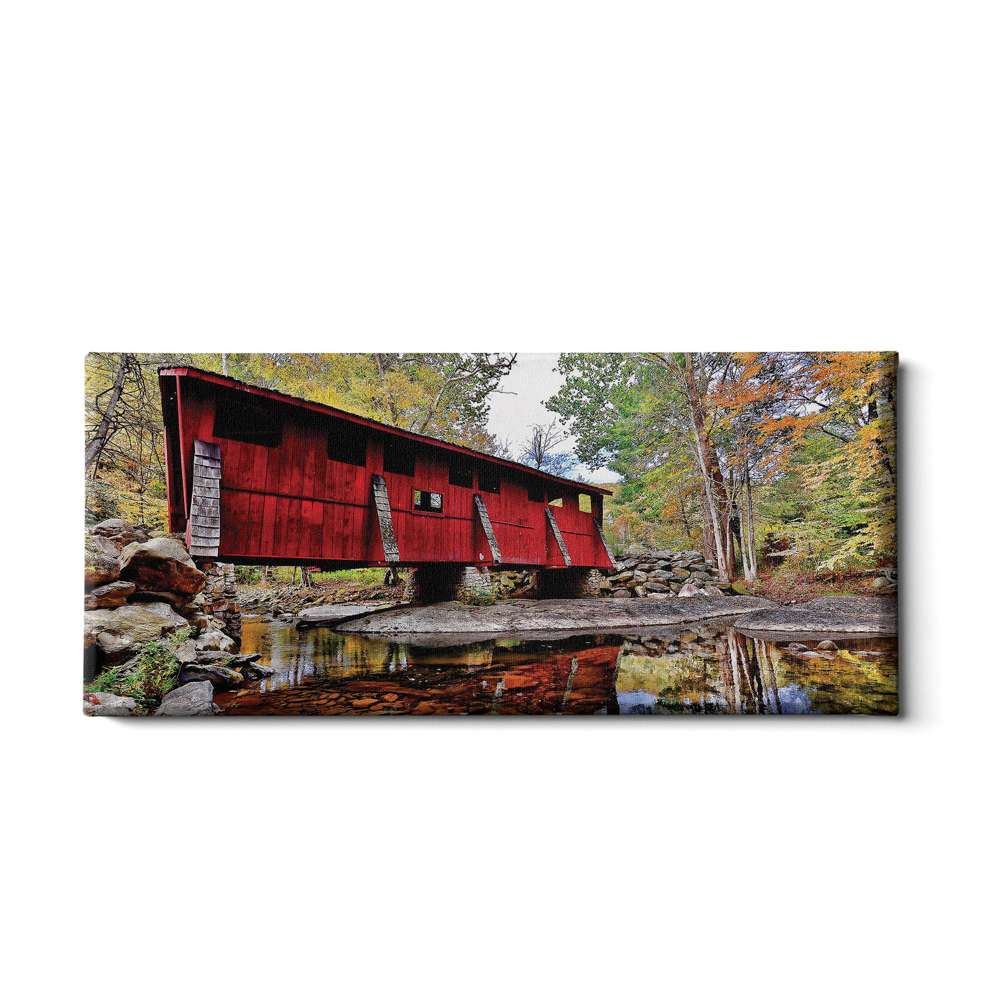 Covered Bridge Panoramic - College Wall Art
