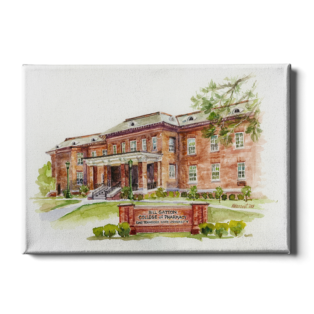 ETSU - Bill Gatton College of Pharmacy Watercolor - College Wall Art #Canvas