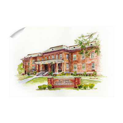 ETSU - Bill Gatton College of Pharmacy Watercolor - College Wall Art #Wall Decal