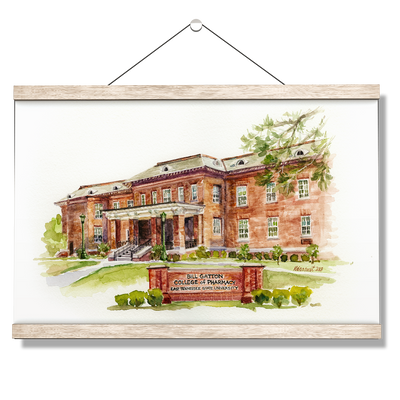 ETSU - Bill Gatton College of Pharmacy Watercolor - College Wall Art #Hanging Canvas