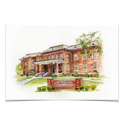 ETSU - Bill Gatton College of Pharmacy Watercolor - College Wall Art #Poster
