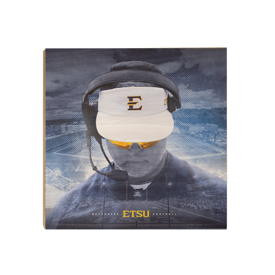 ETSU - Head Football Coach Randy Sanders - College Wall Art#Wood
