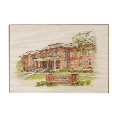 ETSU - Bill Gatton College of Pharmacy Watercolor - College Wall Art #Wood