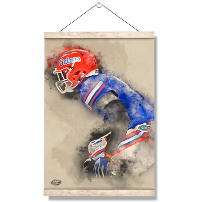 Florida Gators - Gator Defend Watercolor - College Wall Art #Hanging Canvas