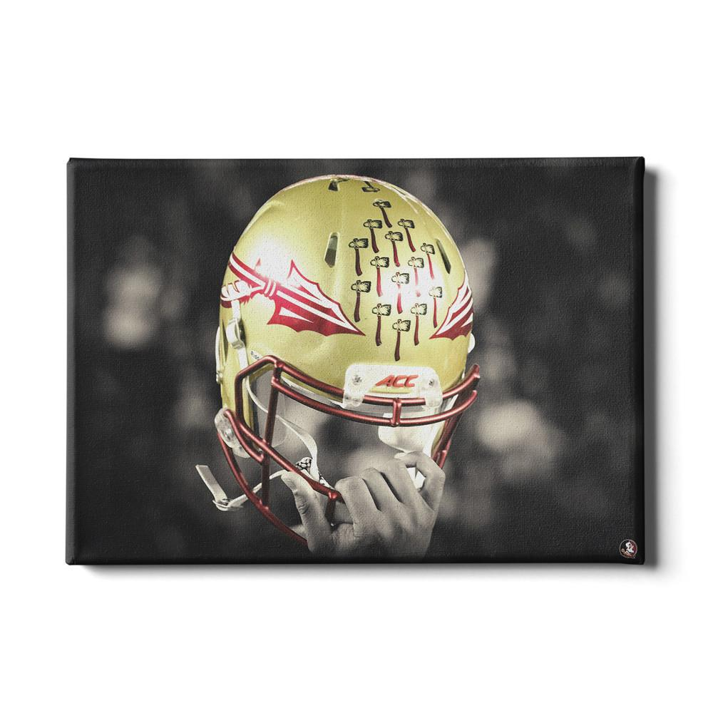 Florida State Seminoles - Seminole Helmet Held High - College Wall Art #Canvas