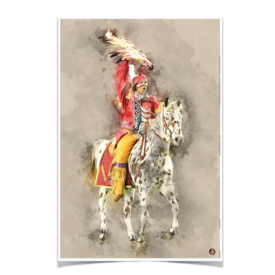 Florida State Seminoles - Osceola Watercolor - College Wall Art #Poster