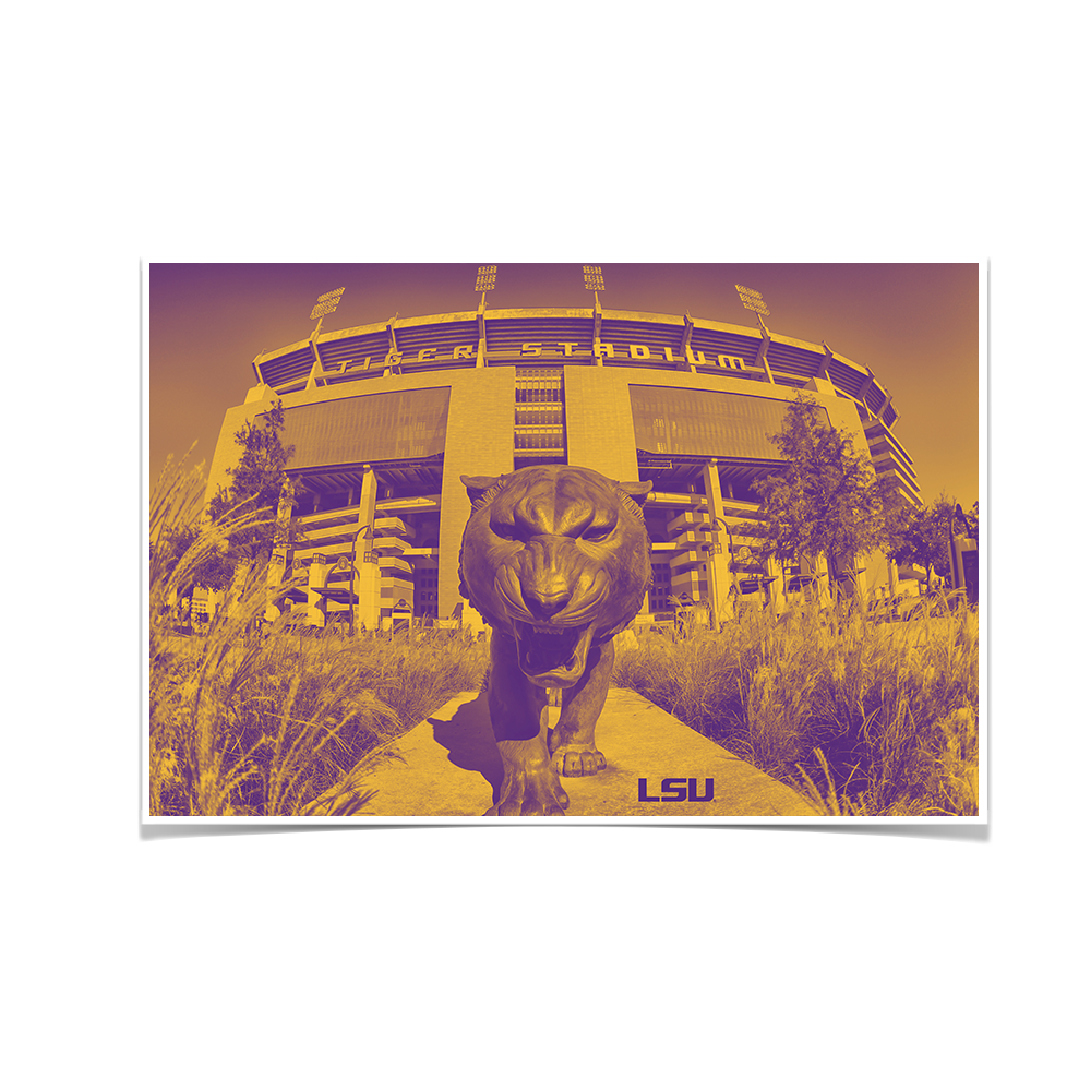LSU Tigers - Tiger Stadium Duotone - College Wall Art #Canvas