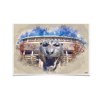 LSU Tigers - LSU Tiger Watercolor - College Wall Art #Poster