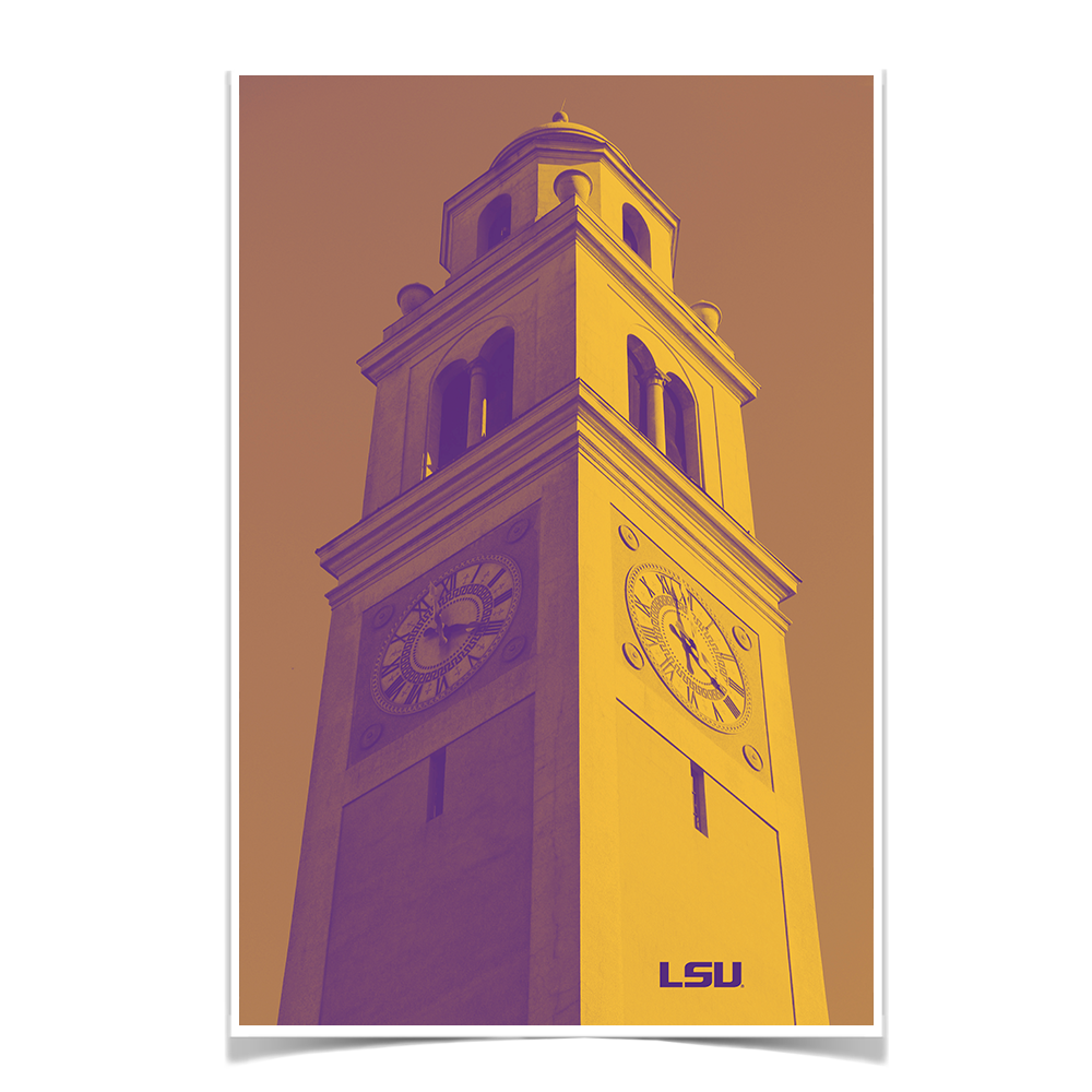LSU Tigers - Memorial Tower Duotone - College Wall Art #Canvas