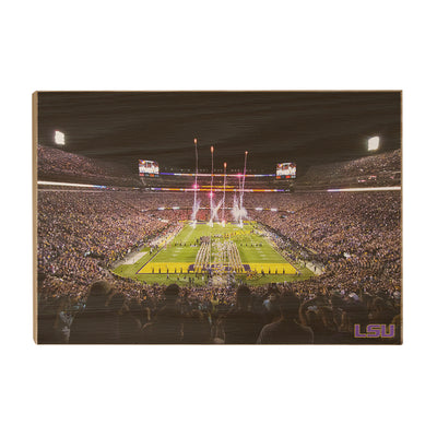 LSU Tigers - Saturday Night in Death Valley - College Wall Art #Wood