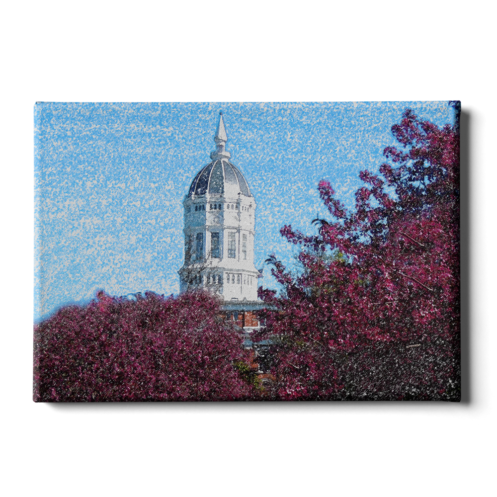 Missouri Tigers - Jesse Hall Sketch - College Wall Art #Canvas