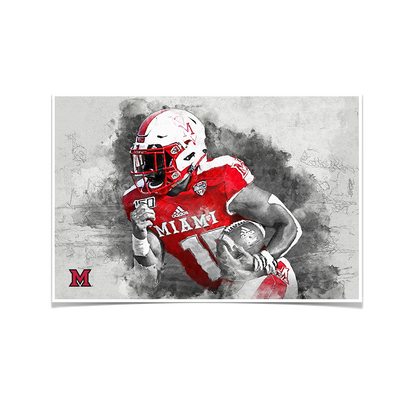 Miami RedHawks<sub>&reg;</sub> - Miami Football Paint - College Wall Art#Poster