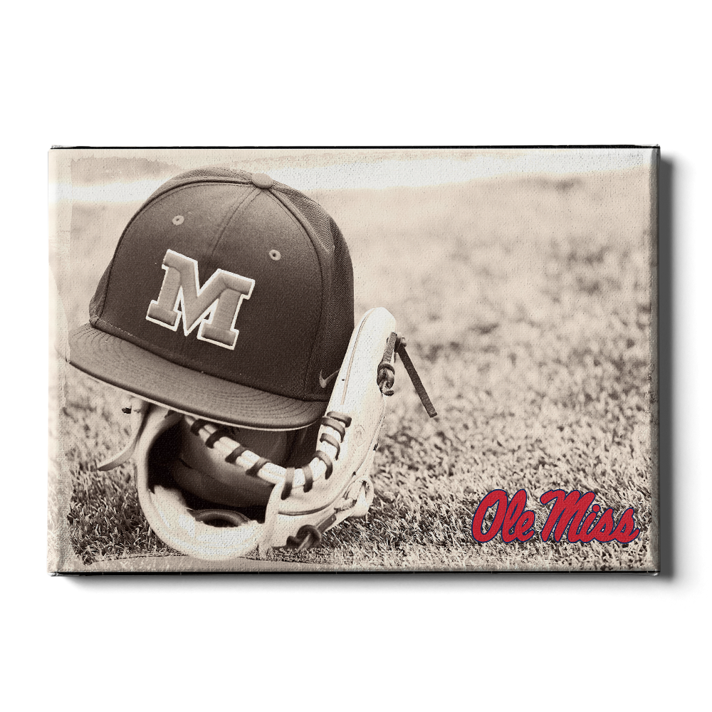 Ole Miss Rebels - Ole Miss Vintage Baseball - College Wall Art #Canvas