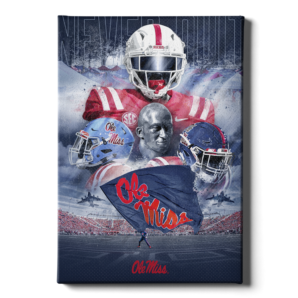 Ole Miss Rebels - Never Quit Collage - College Wall Art #Canvas