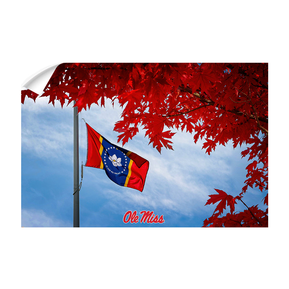 Ole Miss Rebels - Fall Magnolia State Flag - College Wall Art #Canvas