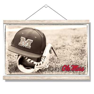 Ole Miss Rebels - Ole Miss Vintage Baseball - College Wall Art #Hanging Canvas