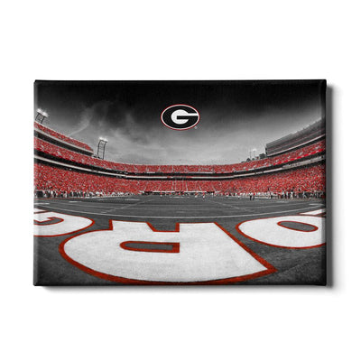 Georgia Bulldogs - Sanford Stadium End Zone Duotone - College Wall Art #Canvas