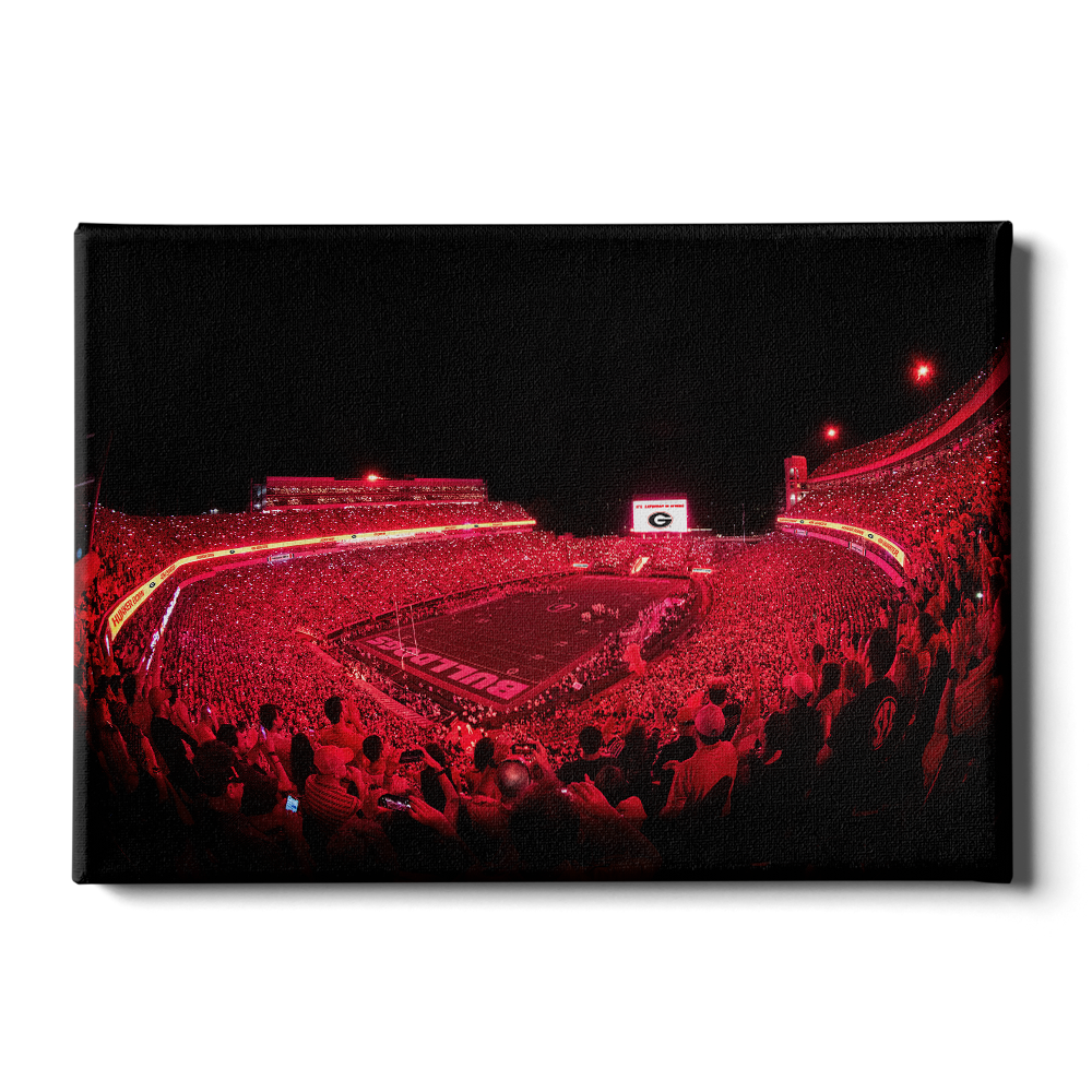 Georgia Bulldogs - Sanford Red Lights - College Wall Art #Canvas