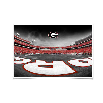 Georgia Bulldogs - Sanford Stadium End Zone Duotone - College Wall Art #Poster
