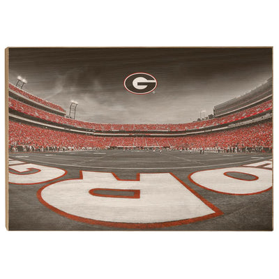 Georgia Bulldogs - Sanford Stadium End Zone Duotone - College Wall Art #Wood