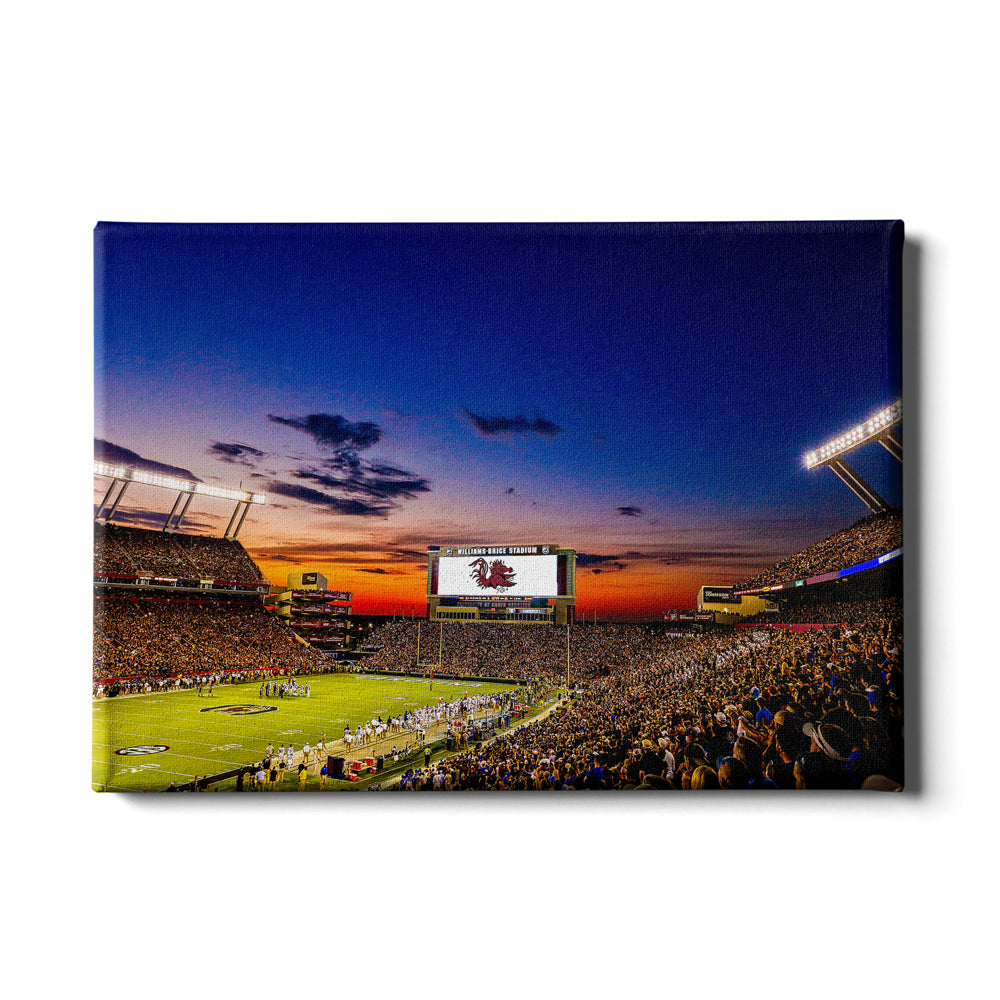 South Carolina Gamecocks - Sunset Blaze at Williams-Brice Stadium - College Wall Art #Canvas