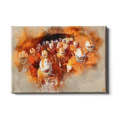 Tennessee Volunteers - Taking the Field Watercolor - College Wall Art #Canvas