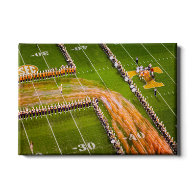 Tennessee Volunteers - Closeup Running Thru the T - College Wall Art #Canvas