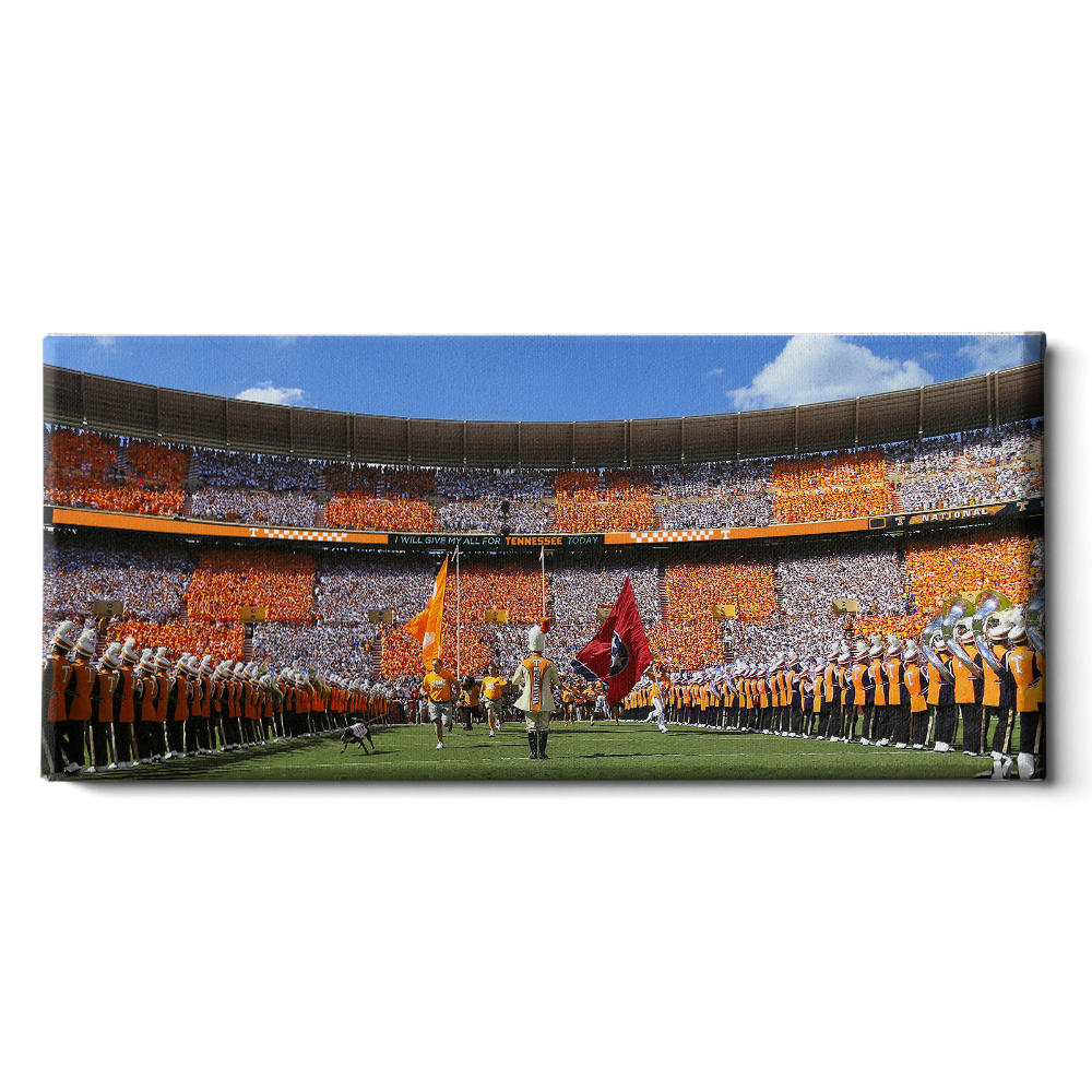 Tennessee Volunteers - Checkerboard Thru the T Pano - College Wall Art #Canvas