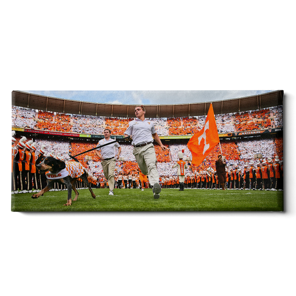 Tennessee Volunteers - Smokey Running thru the T Pano - College Wall Art #Canvas