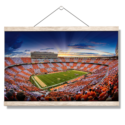 Tennessee Volunteers - Checkerboard Sunset - College Wall Art #Hanging Canvas