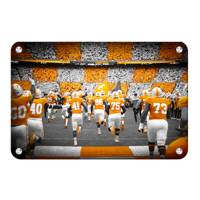 Tennessee Volunteers - Running Onto the Checkerboard Field - College Wall Art #Metal