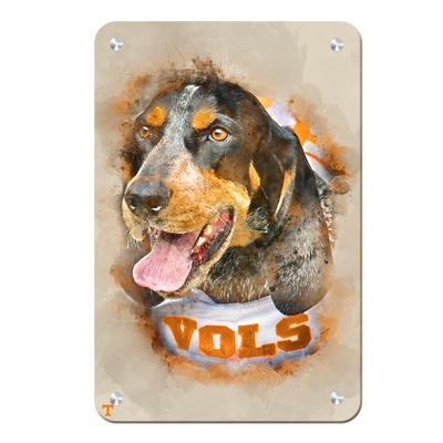 Tennessee Volunteers - Smokey Watercolor - College Wall Art #Metal
