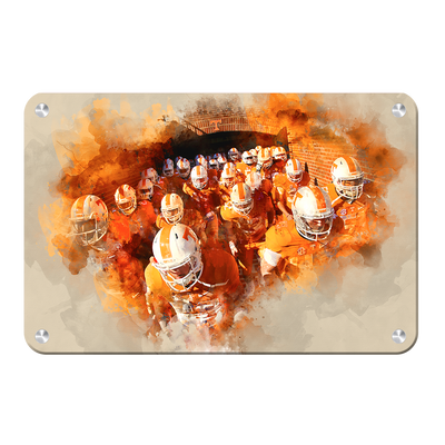 Tennessee Volunteers - Taking the Field Watercolor - College Wall Art #Metal