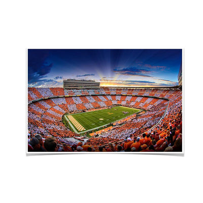 Tennessee Volunteers - Checkerboard Sunset - College Wall Art #Poster