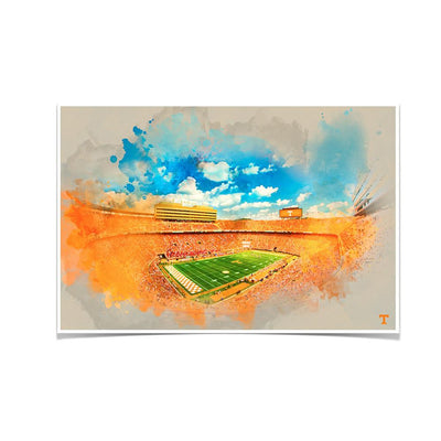 Tennessee Volunteers - Neyland Watercolor - College Wall Art #Poster