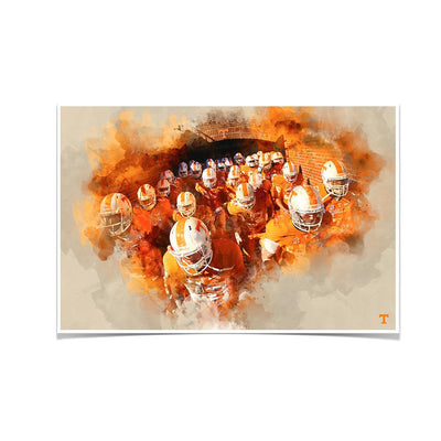 Tennessee Volunteers - Taking the Field Watercolor - College Wall Art #Poster