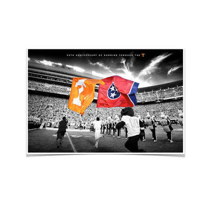 Tennessee Volunteers - 50 Years Running Through the T - College Wall Art #Poster