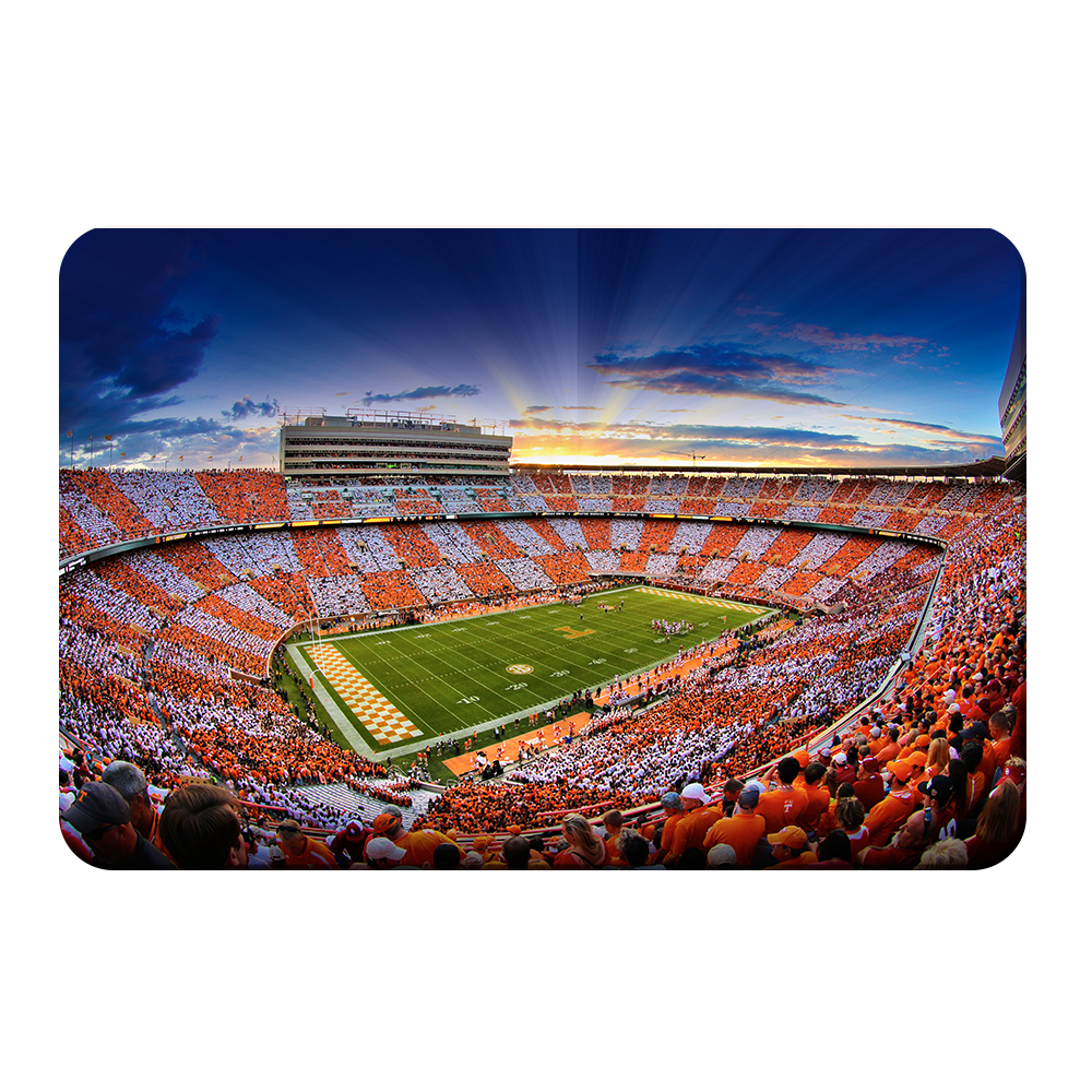 Tennessee Volunteers - Checkerboard Sunset - College Wall Art #Canvas