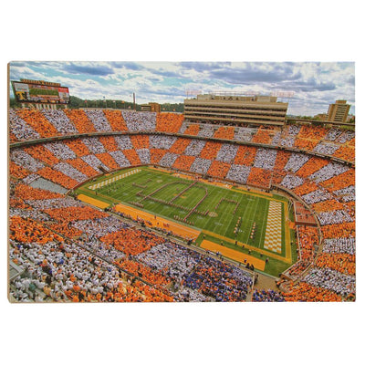 Tennessee Volunteers - Aerial Neyland Checkerboard - College Wall Art #Wood