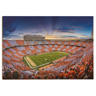 Tennessee Volunteers - Checkerboard Sunset - College Wall Art #Wood