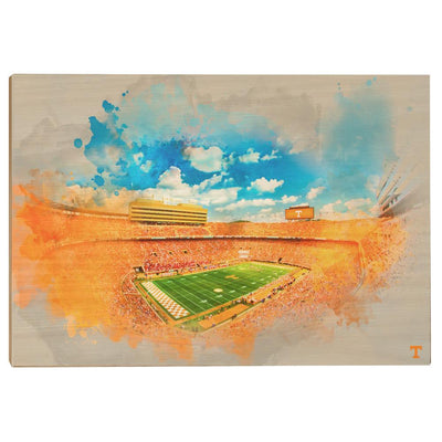 Tennessee Volunteers - Neyland Watercolor - College Wall Art #Wood