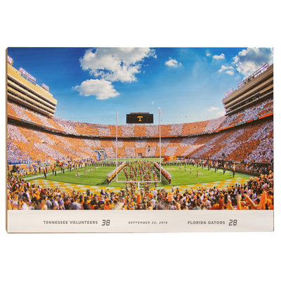 Tennessee Volunteers - Running Through the T UT-FL Score - College Wall Art #Wood
