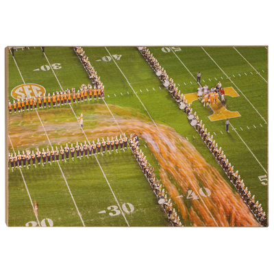 Tennessee Volunteers - Closeup Running Thru the T - College Wall Art #Wood