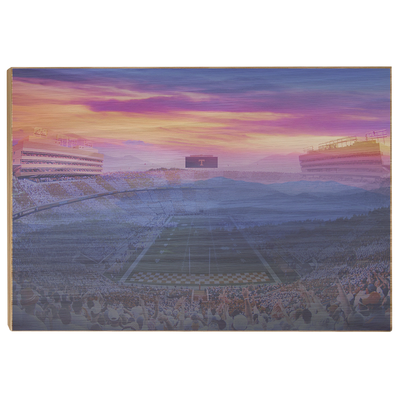 Tennessee Volunteers - Tennessee Mountain Sunset - College Wall Art #Wood