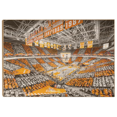 Tennessee Volunteers - Checkerboard Thompson-Boling DuoTone - College Wall Art #Wood