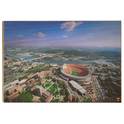 Tennessee Volunteers - Aerial Neyland on the Tennessee River - College Wall Art #Wood