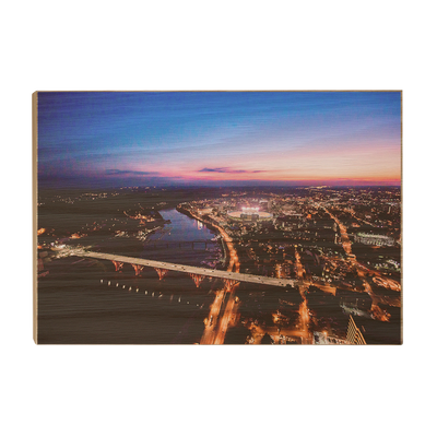 Tennessee Volunteers - Aerial sunset over Neyland - College Wall Art #Wood