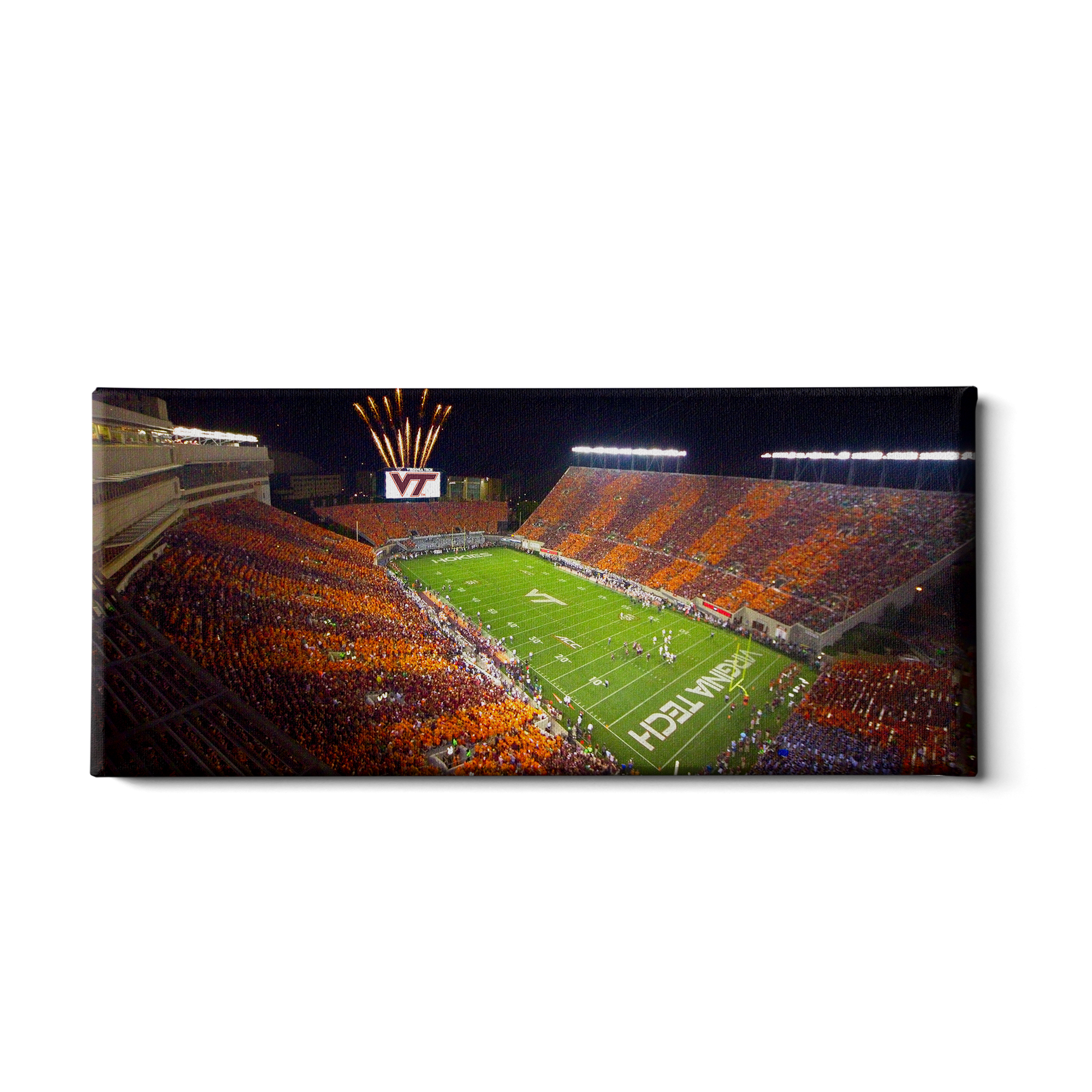 Virginia Tech Hokies - Aerial Striped Lane Stadium Pano #Canvas